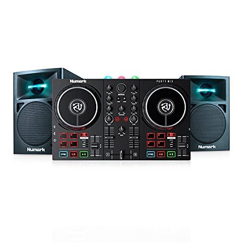 Numark Party Mix II + N-Wave 360 – Einsteiger DJ Controller Set mit eingebauten DJ-Lichtern & DJ-Mixer und zwei kompakte 60-Watt-Full-Range-Desktop-Monitore