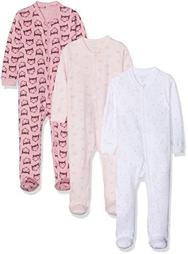 Amazon Exclusive: Care Baby Strampler mit Zip im 3er Pack, Pink (Old Rose 556), 74