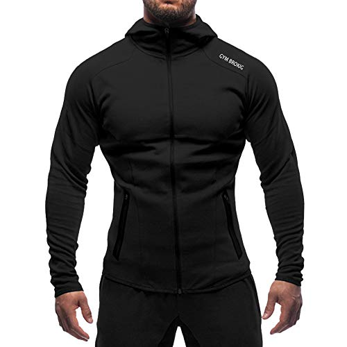 Broki Bodybuilding Gym Fitness Felpa con Cappuccio Uomo Zip
