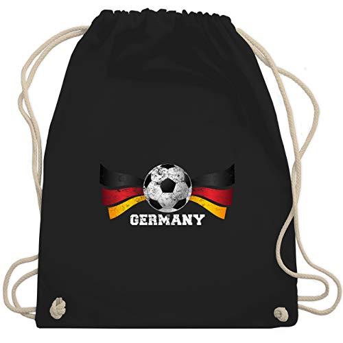 Shirtracer Fußball-Europameisterschaft 2021 - Germany Fußball Vintage - Unisize - Schwarz - fussball beutel - WM110 - Turnbeutel und Stoffbeutel aus Baumwolle