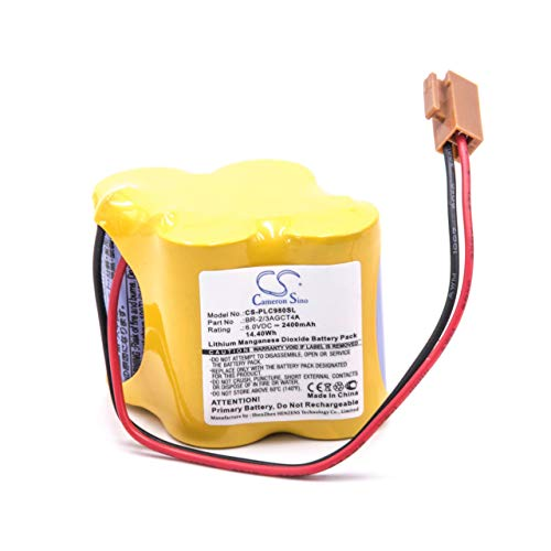 vhbw Batterie passend für GE/Fanuc 18-T SPS, Alpha iSV, Beta iSV, Beta iSVSP CNC System, CNC Maschine (2400mAh, 6V, Li-MnO2)