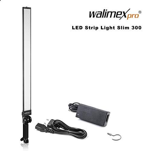 Walimex pro LED Strip Light Slim 300 Daylight – LED Leuchtstab, Strip Light Lichtstab, 30 Watt, 3.300 Lumen, dimmbar, 5600K Tageslicht, Alu Gehäuse, Handgriff neigbar, für Foto- und Video