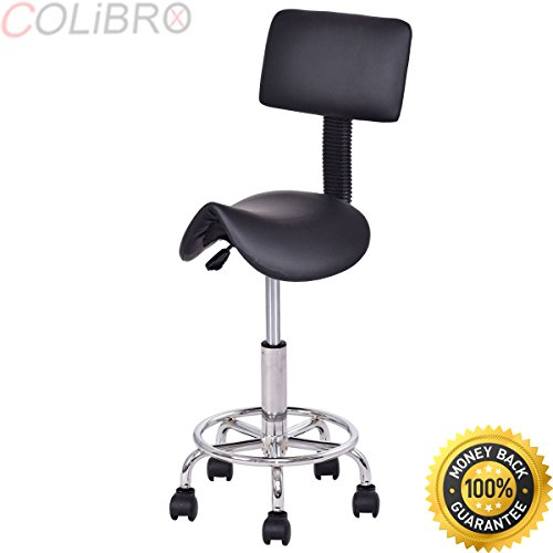 COLIBROX-Adjustable Saddle Salon Stool Rolling Massage Chair Tattoo Facial Spa w/Backrest. cutting stool for hairdressers.best salon stool chair amazon.salon stool for sale.best massage salon chair.