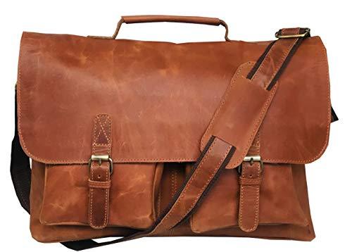 Schoudertas leder KK'S Bags Messenger aktetas draagtas laptoptas 16 inch lederen tas vintage werktas schoudertas bruin heren dames groot L 16 inch