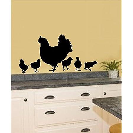 Amazon Com Enchantingly Elegant Henchicks Blackmatte Chickens Hen Baby Chicks Vinyl Decal Wall Stickers Home Kitchen Décor Black Matte Small Home Improvement