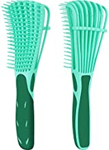 2 Pack Detangling Brush for Curly Hair, ez detangler brush Hair Detangler, Afro Textured 3a to 4c Kinky Wavy for Wet/Dry/Long Thick Curly Hair, Exfoliating for Shiny Curls (Green)