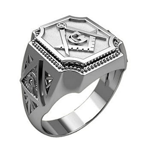ZIYUYANG Anillo de plata para hombre Letras talladas Joyería de fiesta de compromiso de boda Tamaño 6-13 7 Plateado