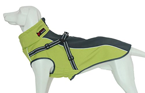 Xanday Dog Jacket with Harness, Windproof Dog Vest with Reflective Strips for Medium Large Dogs, Warm and Cozy Dog Sport Vest, Dog Winter Coat, Warm Dog Apparel (Fluorescent Green, XL)