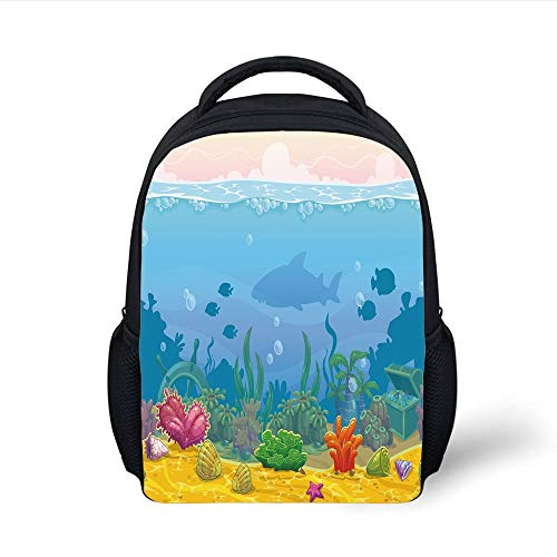 Kids School Backpack Aquarium,Rich Under The Sea Landscape Fish Silhouettes Colorful Exotic Plants and Shells Decorative,Multicolor Plain Bookbag Travel Daypack