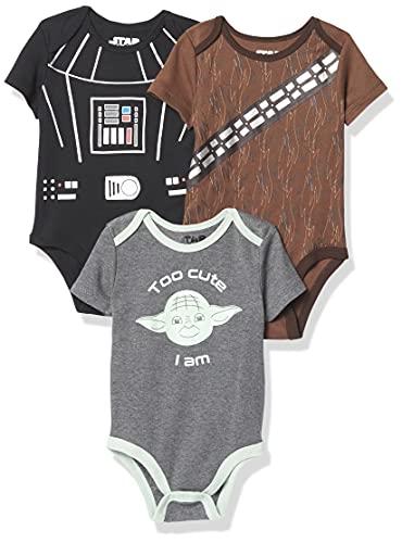 Disney Boys' Star Wars Infant Short Sleeve Onesie Bodysuits Baby Costumes Multi Pack, 3PK Grey-brown-black, 0-3 Months