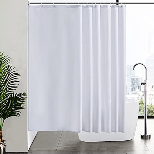 Furlinic Duschvorhang Überlänge Badvorhang Anti-schimmel für Dusche & Badewanne Textile Gardinen aus Stoff Antibakteriell wasserdicht Extra Breit 240x180cm Weiß mit 16 Haken.