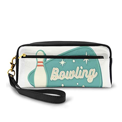 Pencil Case Pen Bag Pouch Stationary,Vintage Design in Traditional American Style Hobby Fun Sports Theme,Small Makeup Bag Coin Purse