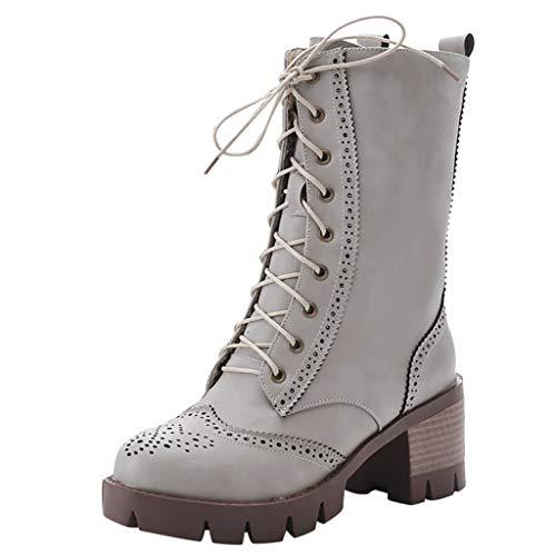 Frauen Winter Stiefel Lace Up Mitte Kalb Chunky Block Low Heel Stiefel Damen Grip Sole Platform Combat Schuhe(38 EU,Grau)