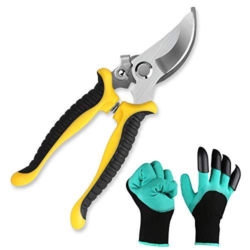 Anlising Gardening Hand Cutter and Garden Glove, Garden Pruning Shears, Garden Hedge Trimming Scissors, Tree Pruner, Garden Ratchet Shears, Tree Trimmers, Secateurs Shears, Ideal for Plant DIY Pruning