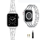 Cesicersi Compatible with Apple Watch Band 40mm 38mm Women,Luxury Bling Diamond with Clover Stainless Steel Bracelet Strap for iWatch Series 6 SE 5 4 3 2 1,Sliver/White