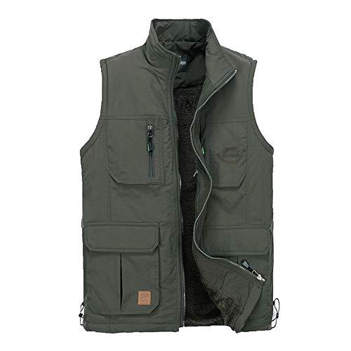 BOZEVON Hommes Autumn Casual Gilet - Coton Winter Veste, Vert Militaire, EU L=Tag XL
