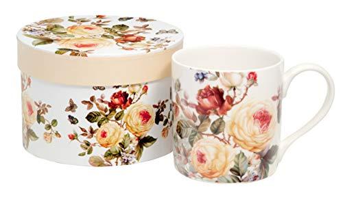 Duo Kaffeebecher Kaffeetasse groß weiß Blumen Porzellan Teetasse Geschenktasse Becher Trinkbecher Büro Tasse für Kaffee Mug Cup 330 ml in Geschenk Box mit Blumenmotiv (Zahra)