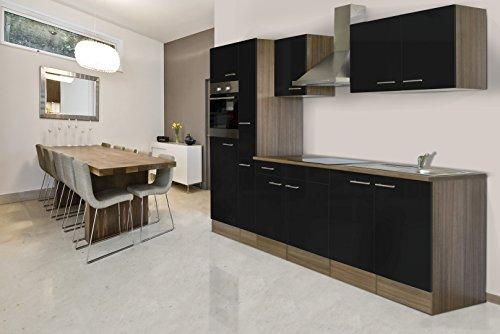 Respekta inbouw keuken blok 300 cm eiken York imitatie zwart oven Ceran apothekerskast