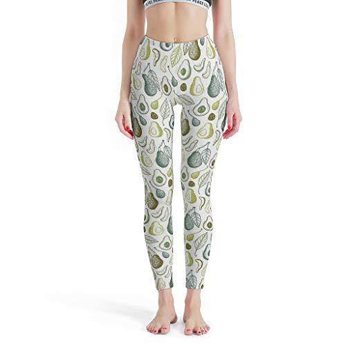 XJJ88 Lustige Yogahose für Damen, Bedruckte Leggings, Avocado-Linie, gemusterte Yoga-Capris-Hose für Mädchen L weiß
