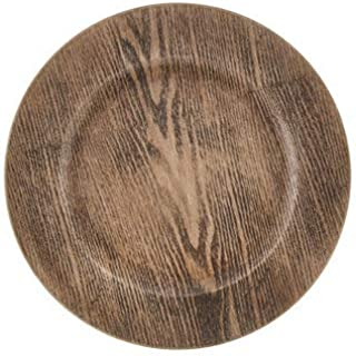 Wood Decorative Charger Plates Rustic Wedding Wood Design Chargers (Set of 4)