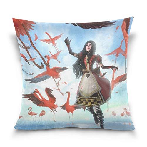 Game Alice Madness Returns Cotton Velvet Soft Decorative Square Pillowcase Cushion Cushion Pillowcase Home Decoration Sofa Sofa Bed Chair Fundas para Almohada 22x22Inch(55cmx55cm)