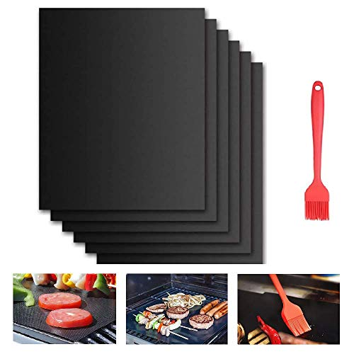 Beshine BBQ Grill Mat, 6-Pack Non-Stick Barbecue Baking Mats for Charcoal, Gas or Electric Grill, Heat-Resistant…