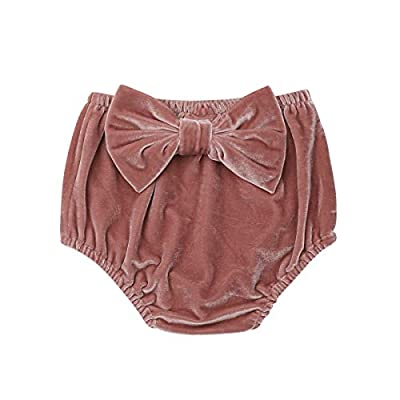 Oasiss Unisex Infant Baby Girls Velvet Bloomers Diaper Cover,Solid Bow-Knot Elastic Waist Shorts Briefs Bottoms (0-6Month) Red