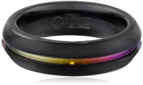 Big Sale Best Cheap Deals Women's Black Titanium Grooved Rainbow Dome Ring, Size 6.5