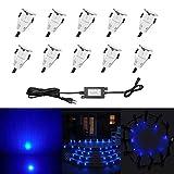 Lot de 10 Lampe de Spot LED Mini Ø18mm Eclairage encastré Inox pour Terrasse Enterré Plafonnier, IP67 Etanche DC12V Lumière...