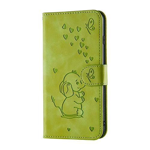 iPhone 6 Plus hoesje, iPhone 6S Plus hoesje, schokbestendig PU lederen portemonnee telefoonhoesje reliëf heerlijk olifant met standaard kaartsleuf houder Notebook Slim Fit TPU Bumper Flip Folio beschermhoes