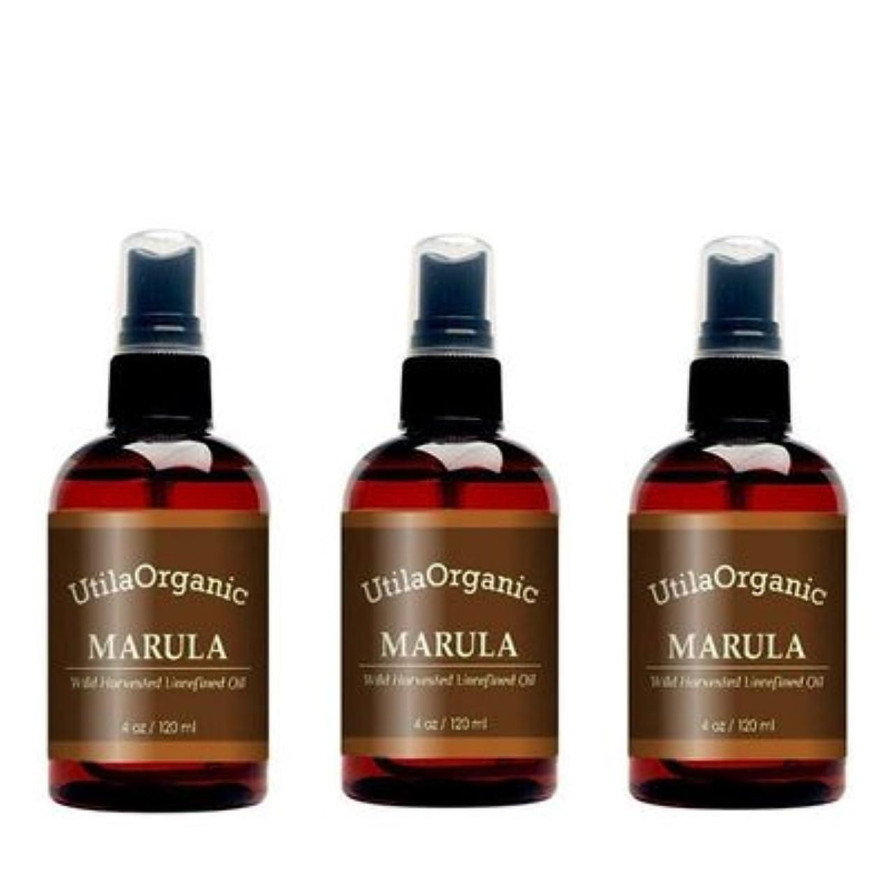 中断触覚ダニお得な3本セット 未精製 マルラオイル 120ml Marula Oil 100% pure and natural 【並行輸入品】