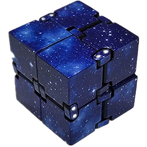NSSTAR Infinity Cube Galaxy, mini cubo infinito ABS para aliviar el estrés, antiansiedad, estrés para niños adultos EDC juguete (azul)