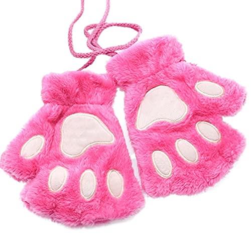 Mujeres Oso Felpa Gato Garra Guantes Invierno Lindo Gatito sin Dedos Guantes más Terciopelo Engrosamiento Guantes cálidos-Hot Pink-One Size