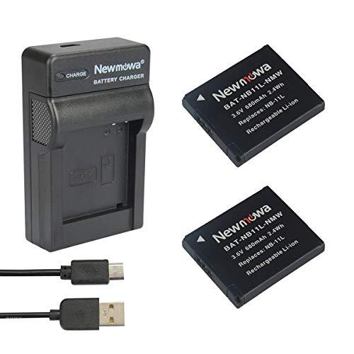 Newmowa NB-11L Batería (2-Pack) y Kit Cargador Micro USB portátil para Canon NB-11L y Canon PowerShot A2300 IS, A2400 IS, A2500, A2600, A3400 IS, A3500 IS, A4000 IS, ELPH 110 HS