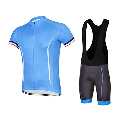 OHGGB Men's Cycling Jersey Suit Breathable Short Sleeve with 4D Gel Padded Bib Shorts Comfortable Quick Dry Riding Sportswear,A,M
