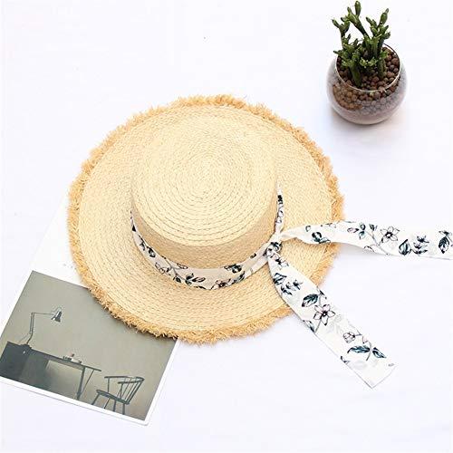 ZiWen Lu 2019 primavera ed estate piatto cappello nastro Rafi femminile coreano piccolo fresco crema solare cappello spiaggia cappello di viaggio, cannuccia, Stelle bianche, Regolabile