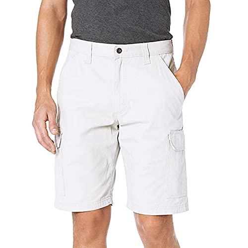 Pantalones cortos para hombre de ajuste relajado, pantalones cortos cargo casuales de combate de verano con múltiples bolsillos, duraderos para ropa de trabajo, blanco, 42
