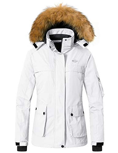 Wantdo Women's Winter Skiing Jacket Mountain Insulated Snow Coat White XL