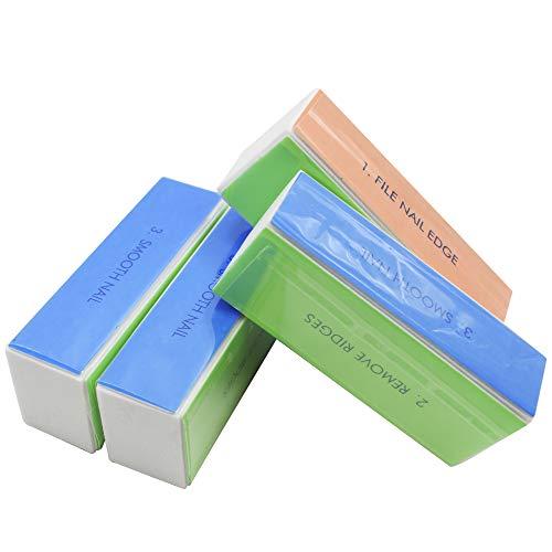 AnFun 4 piece 4-in-1 Nail Files Natural Nail Shiner 4 Way Block Diamond Buffing 4 Step Buffing Block Shine Nail Buffer