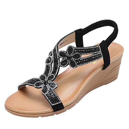Luckycat Mujer Diamante Gota De Lágrima Moda Plataforma Sandalias Chanclas para Mujer Ergonomic Flip-Flops Sandalias con Punta Abierta para Mujer