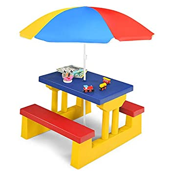 HONEY JOY Toddler Picnic Table with Umbrella Plastic Kids Patio Table and Bench Set Portable Indoor Outdoor Picnic Play Table Set for Backyard  Multicolored