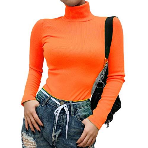 Roselux Las mujeres de manga larga de punto acanalado de cuello alto capas Tops de neón verde elástico camisa pullovers Slim Fit suéter - naranja - Small