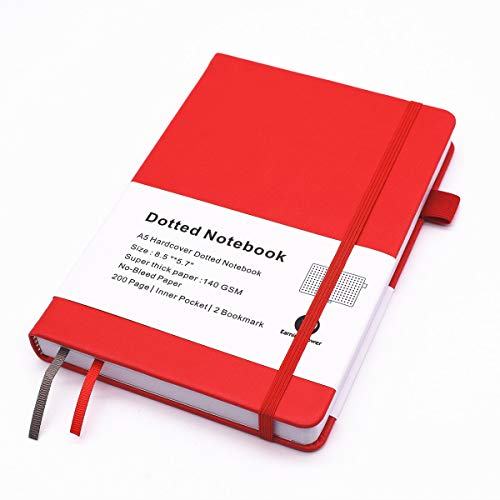 Dotted Journal Bullet Notebook,Hard Cover, Medium 5.8 x 8.2 inches,140gsm Thick Paper with Inner Pocket, 2 Bookmarks(Red,Dotted)