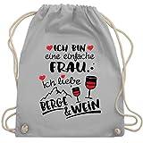 Après Ski - Einfache Frau - Berge & Wein - schwarz - Unisize - Hellgrau - Wein - WM110 - Turnbeutel und Stoffbeutel aus Baumwolle