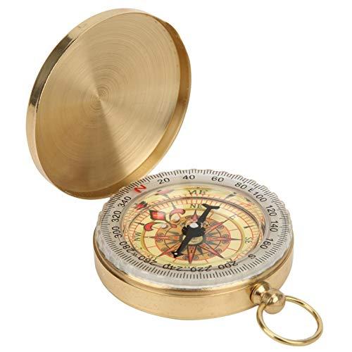 Portátil Mini Brújula Mental Ligera Vintage Retro Metal Cobre Flip Cover Reloj de bolsillo Brújula Durable Ligero para actividades al aire libre, paseos en bote(Pocket watch compass)