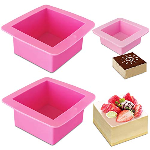 3 Pcs Non-Stick Square Baking Silicone Molds, AIFUDA Quick Release Bread Pan Bakeware Tray for Cheese Cake Tier Cake Handmade Toast Mold Bread Mould Soap Mold - Rose Red, Pink