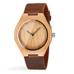 Excellent Gift Box:The Cucol Wood Face Watch is the perfect Christmas gift for wife,friends, relatives or loved ones.Carefully prepared, packaged and delivered to you in our bright beige gift box. Real Bamboo Case:No emblem on the face of the watch.T...
