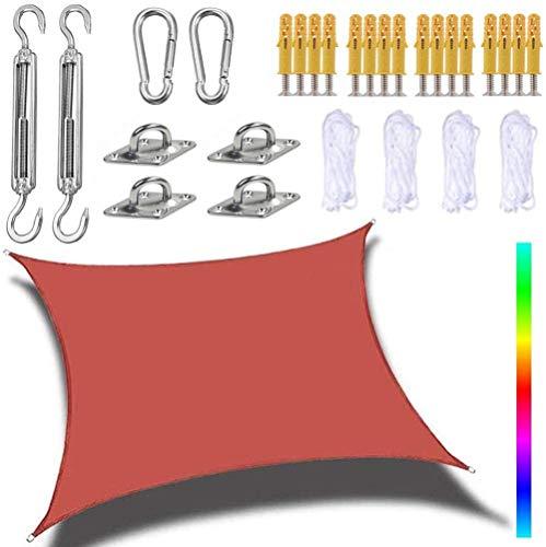 WPHH Tenda Quadrata Vela Tela Impermeabile Resistente ai Raggi UV Parasole Patio Giardino Patio Balcone, con Kit di Fissaggio in Acciaio-Rosso_3X3 M