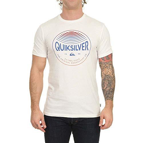 Quiksilver Colors in Stereo-Maglietta da Uomo, Snow White, L