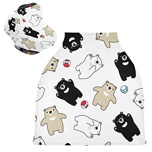 Sinestour Fundas para asiento de coche de bebé con diseño de oso con bola de bebé, fundas para lactancia y lactancia, toldo multiusos para mamás y bebés